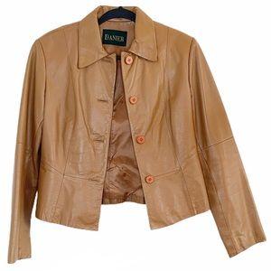 Danier Leather Cropped Caramel Tan Jacket Size 4
